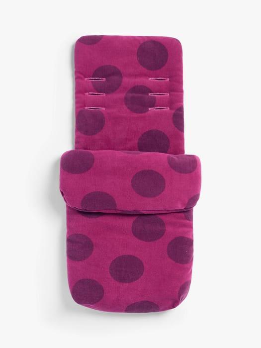 John Lewis & Partners Baby Spot Print Pushchair Footmuff, Pink