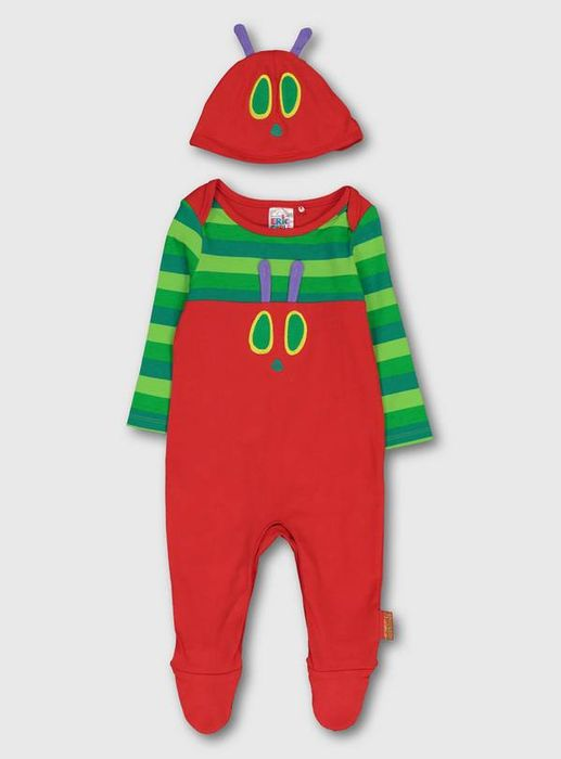 CUTE! The Very Hungry Caterpillar Red Baby Sleepsuit & Hat Set
