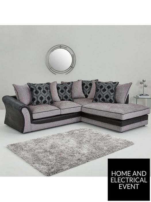 *SAVE £700* Milan Faux Leather & Fabric Right Hand Corner Scatter Back Sofa