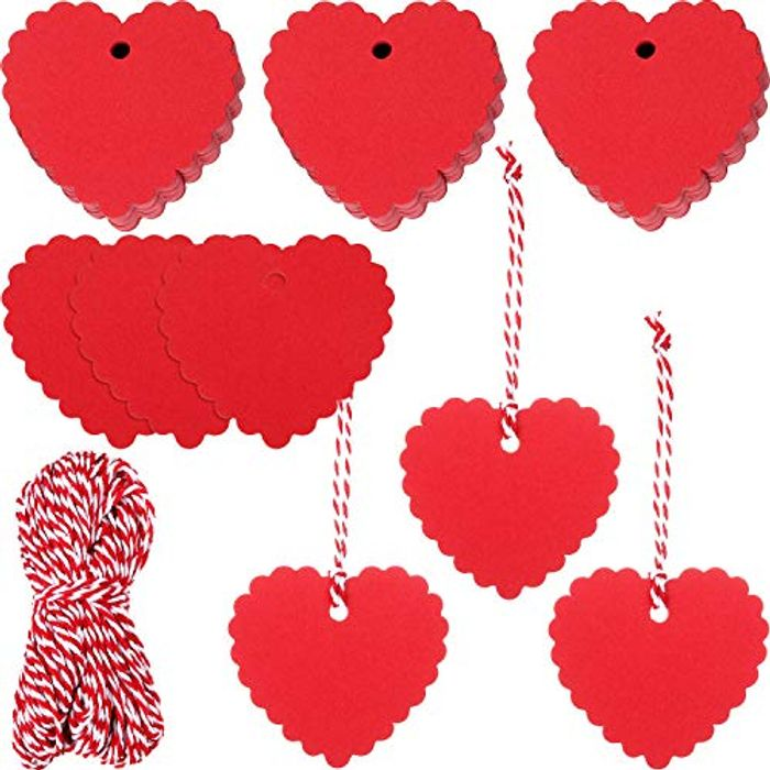 300 Pieces Valentine's Day Gift Tags Red Heart Shaped Paper Tag
