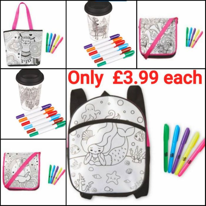 Colour Your Own - Bags & Travel Mugs £3.99 Each