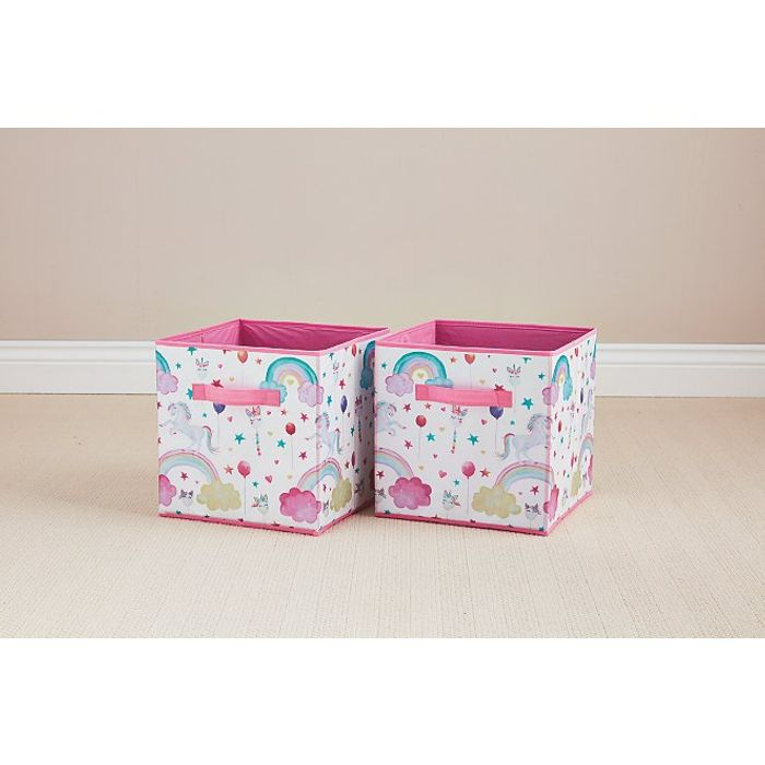 Pink Unicorn Storage Boxes 2 Pack - Only £4!