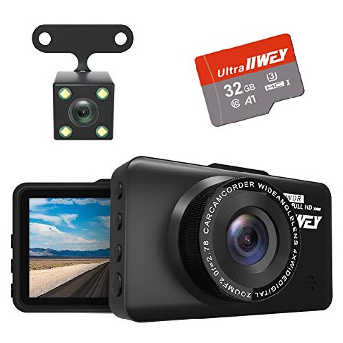 Front and Rear Dash Cam, FHD 1080P with Night Vision and SD Card Included