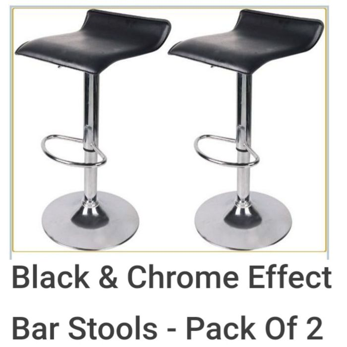 Black & Chrome Effect Bar Stools - Pack of 2.