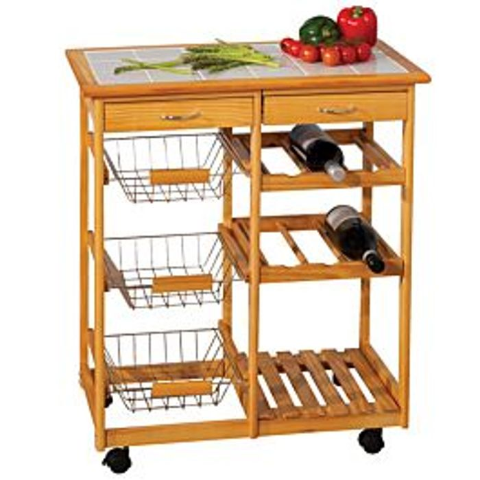 Double Kitchen Trolley with Ceramic Tile Top - Save £46 with Code!