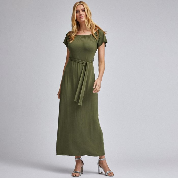 Dorothy Perkins - Green Bardot Belted Maxi Dress - Only £6.4
