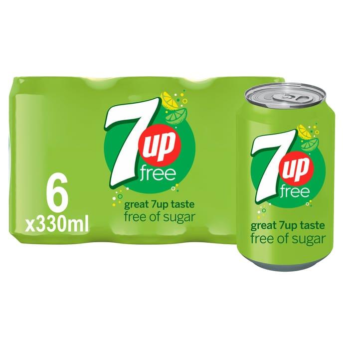 7Up Free Sparkling Lemon & Lime Drink 6 X 330Ml