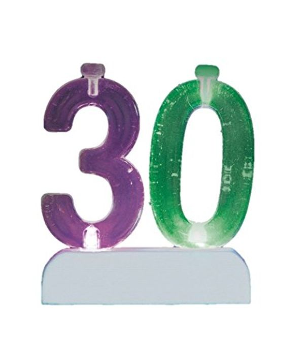 Colour Changing Number 30 Birthday Candle Holder with 4 Candles