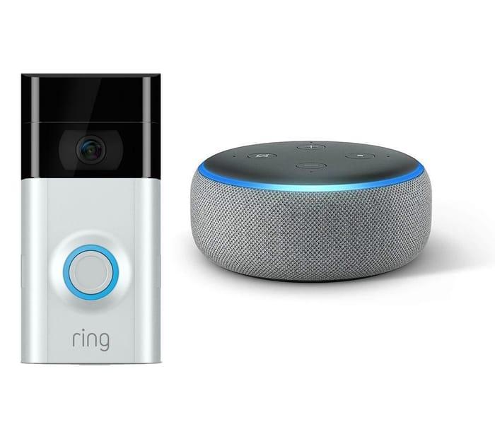 *SAVE £60* RING Video Doorbell 2 & Amazon Echo Dot Bundle Grey or Charcoal