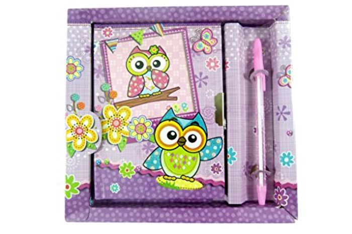 Cute Owl Pen and Notebook with Lock in Box Stationery Set (Purple)