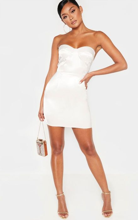 Silver Hammered Satin Bandeau Cup Detail Bodycon Dress, Half Price!