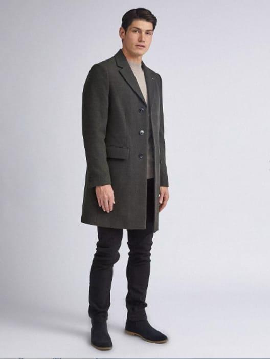 Moss Green Faux Wool Overcoat