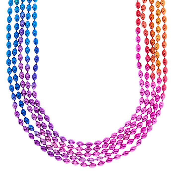 Ombre Rainbow Beaded Necklaces - 5 Pack