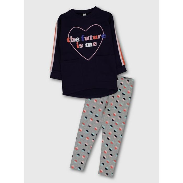 Navy Sweatshirt & Abstract Print Leggings - 3 or 5 Years Available