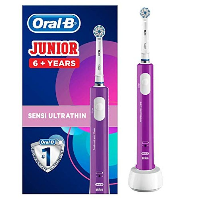Purple Oral B Kids Rechargeable Electric Toothbrush Age 6-12