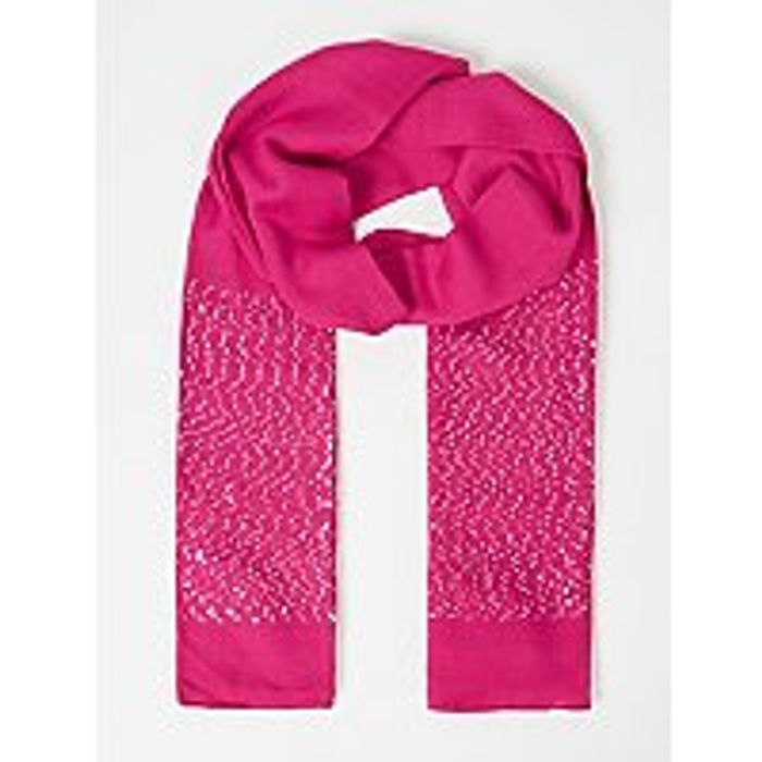 Pink Sequin Embellished Scarf
