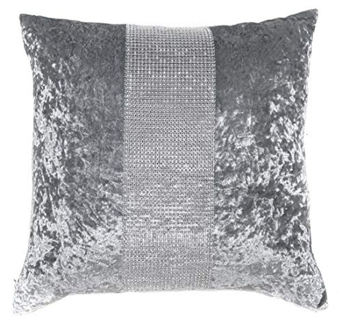 Rainbow Silver/Grey Diamante Sparkle Bling Crushed Velvet 18 Inch Cushion Cover