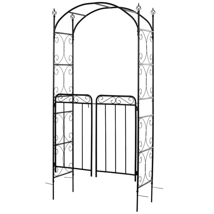 Metal Decorative Backyard Arch with Gate, Garden Arbor for Climbing Plants
