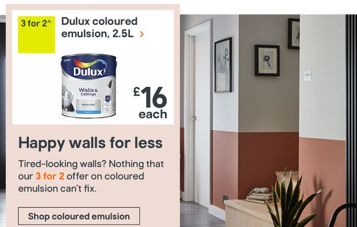 3 for 2 Offer on Dulux Paint