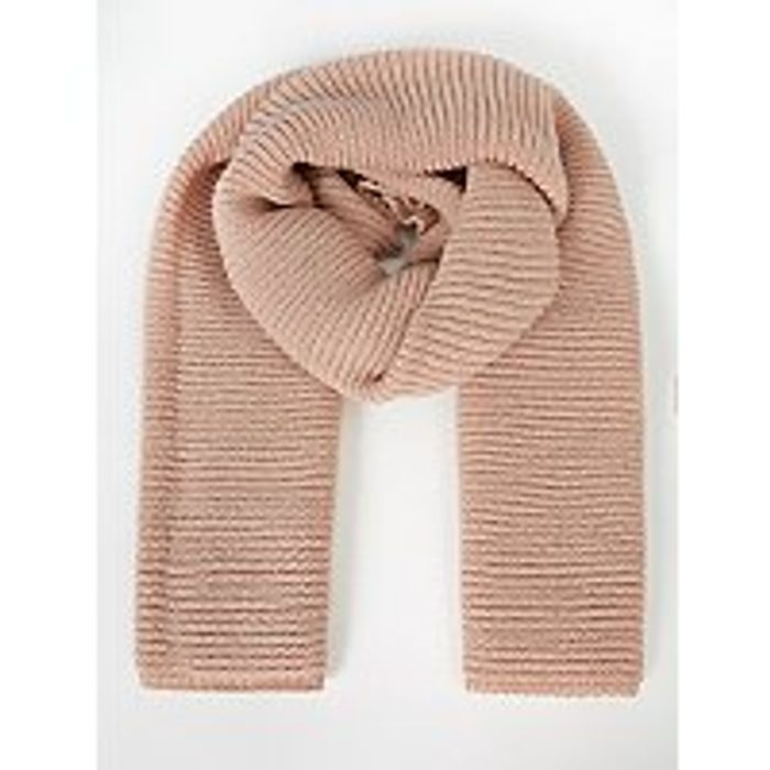Pink Shimmering Knitted Scarf