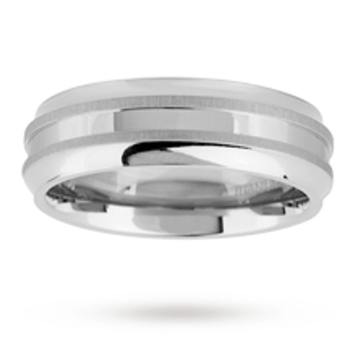 Gents Titanium Wedding Ring with Polished Finished and Matte Lines