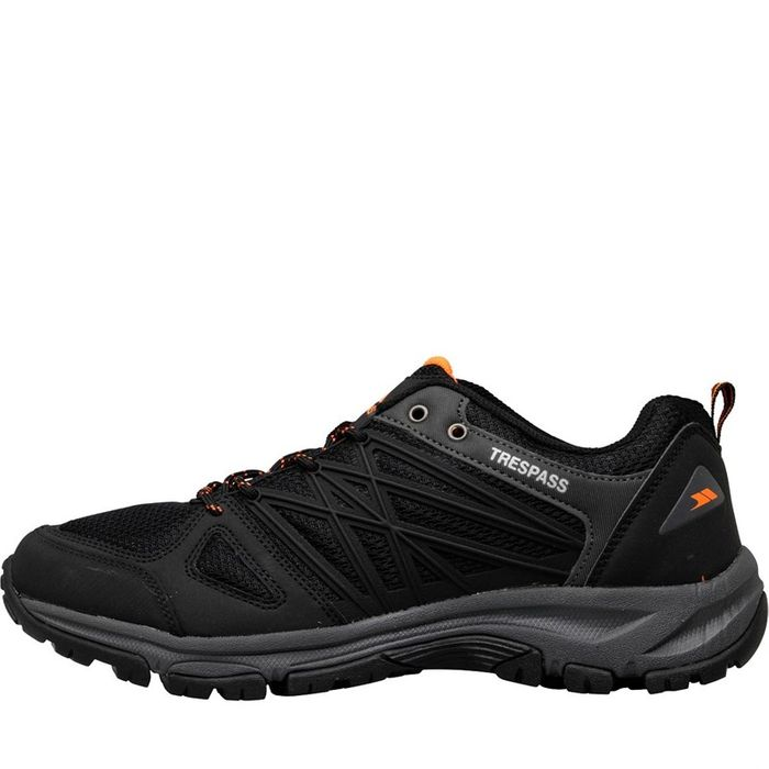Trespass Mens Fisk Trail Walking Shoes Black/Shocking Orange