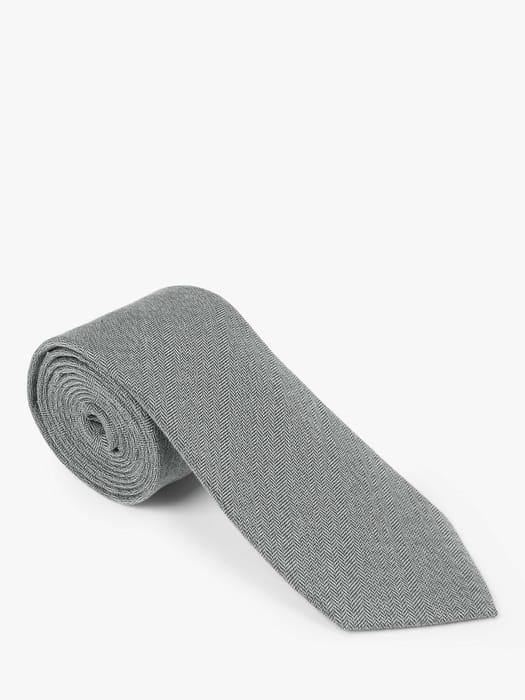 John Lewis & Partners Herringbone Tie, Fine Grey