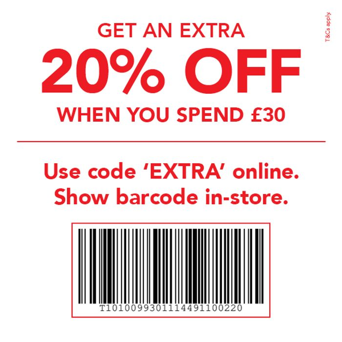 20% off When You Spend £30