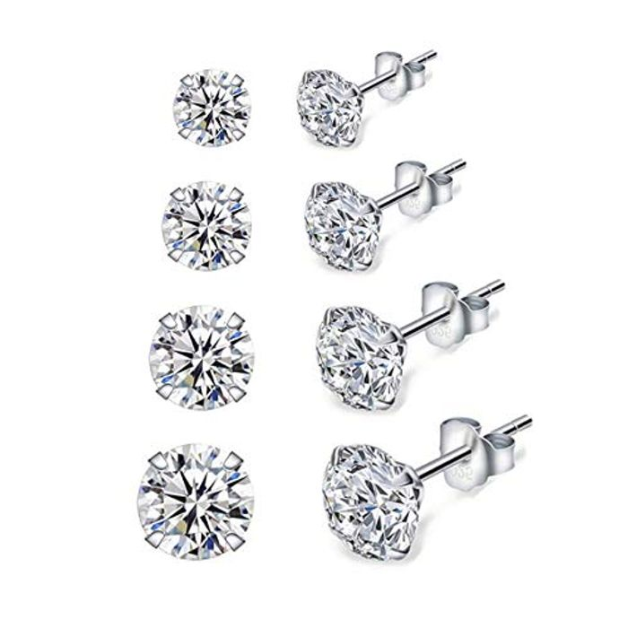 Silver Stud Earrings for Women, 4 Pairs 925 Sterling Silver Cubic Zirconia