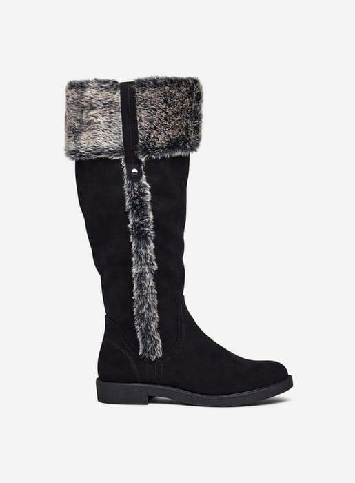 Wide Fit Black Terri Fur Lined Boots
