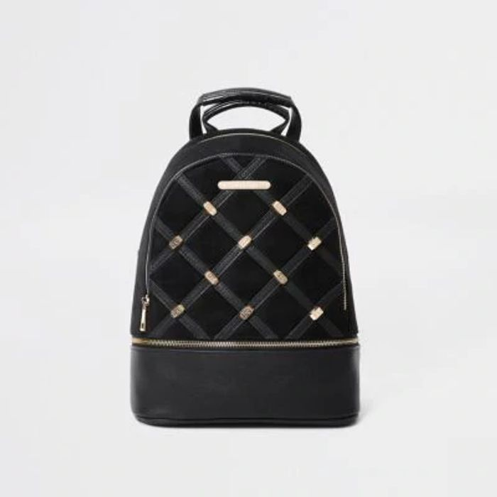 Black Quilted and Stud Backpack save £16