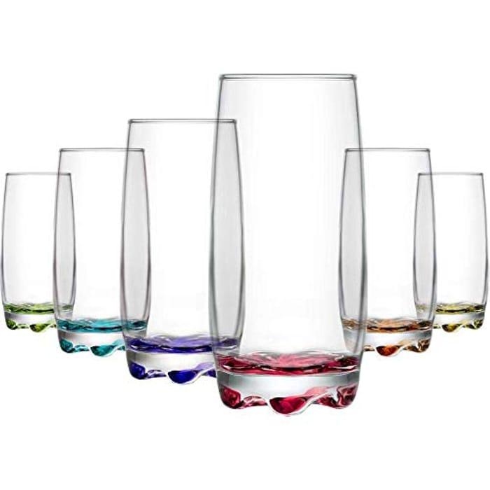 Lav Coloure Highball Clear Glasses