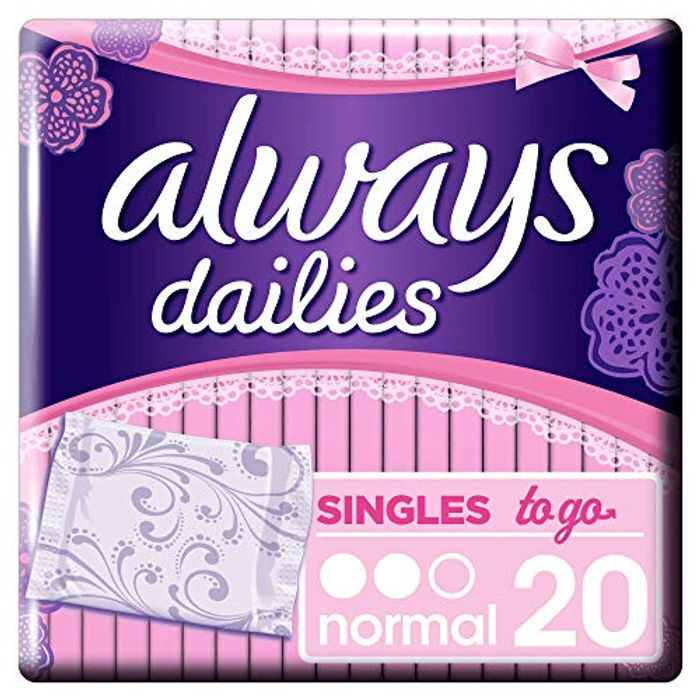 Always Dailies Singles to Go Panty Liners 20 Liners for 95p