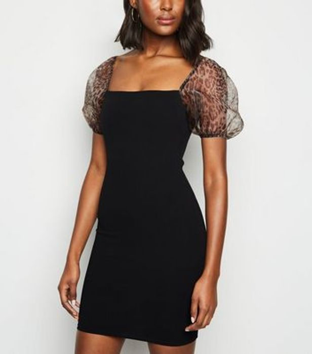 Black Leopard Print Organza Sleeve Bodycon Dress