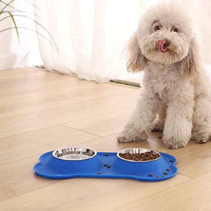 Dog Bone Shaped Silicone Pet Bowl Combo - Blue