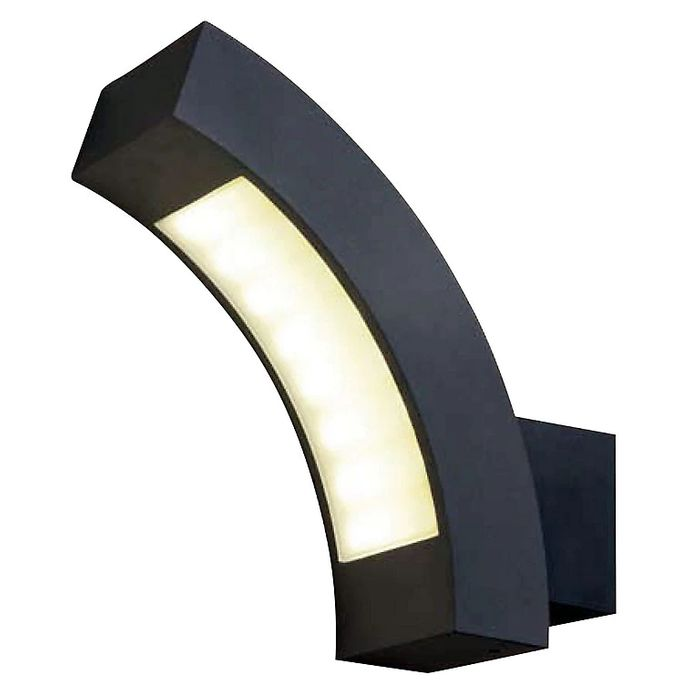 Blooma Ross Matt Charcoal Mains-Powered LED Outdoor Curve Wall Light