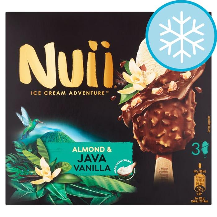 Nuii Almond & Java Vanilla Ice Cream Sticks 3X90ml