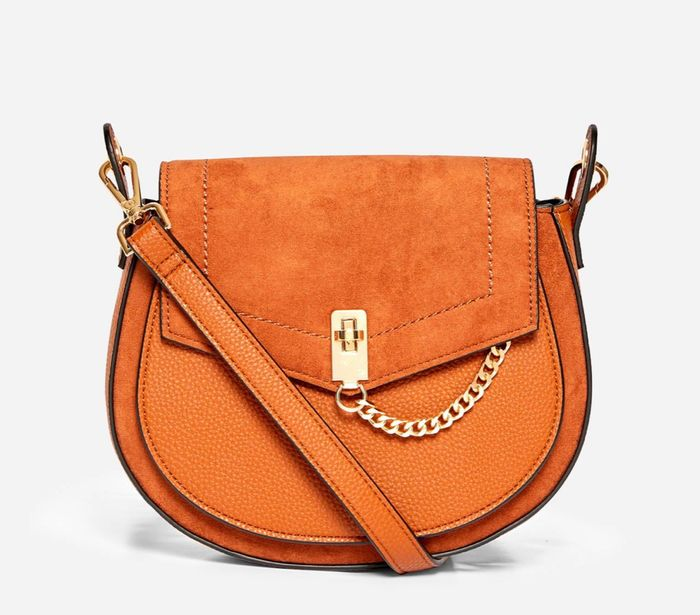Dorothy Perkins - Brown Eyelet Saddle Cross Body Bag