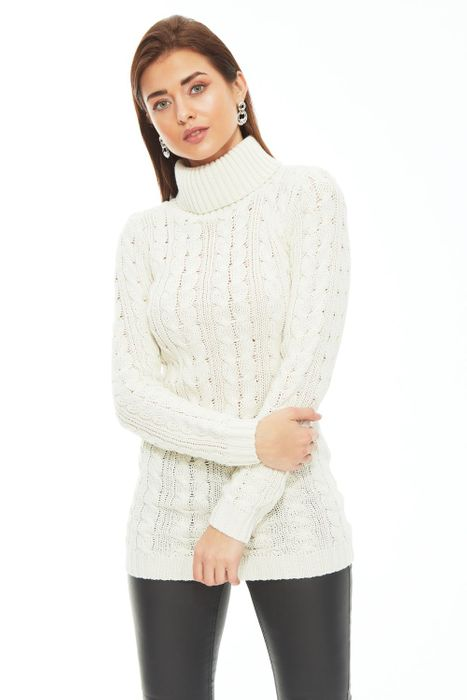 Winter White Cable Roll Neck Tunic