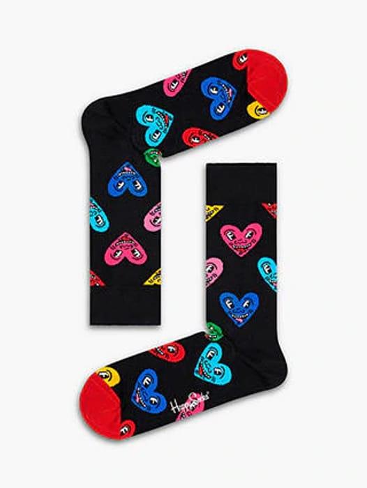 Happy Socks Keith Haring Heart Socks, One Size, Black/Multi