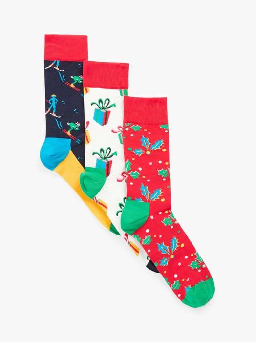 Happy Socks Christmas Holiday Socks Singing Gift Box (Pack of 3, Red/Multi)