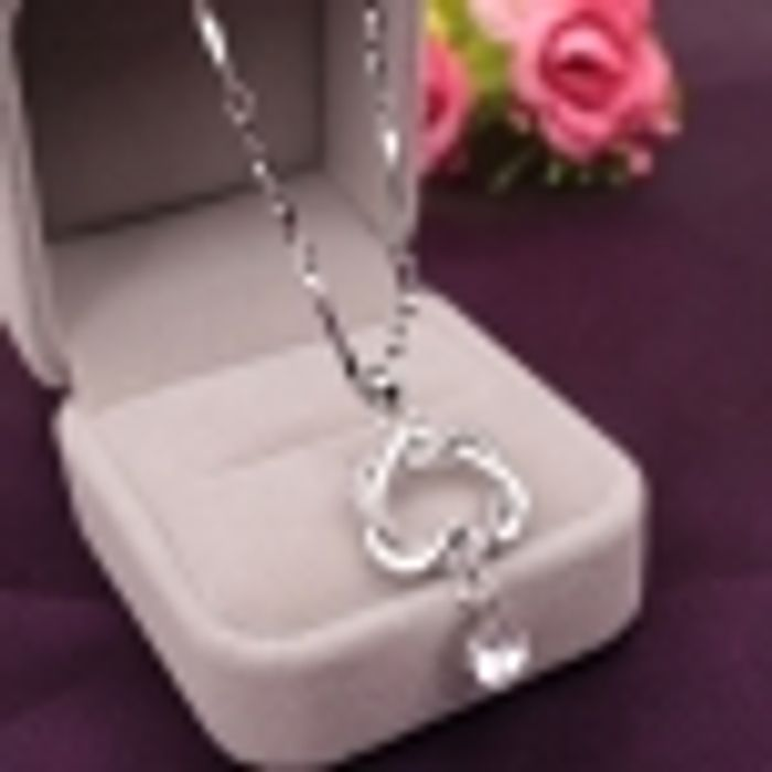 Cheap Fashion Rhinestone Double-Heart Pendant Necklace - Only £1.21