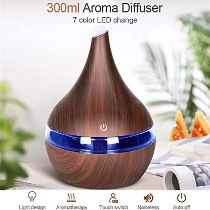 7 Color Night Light Wood Grain Humidifier Ultrasonic Essential Oil