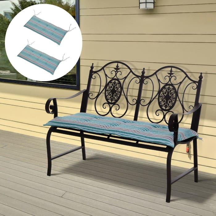 2 PCS Patio Bench Chairs Garden Chairs 2 Seat Cushion Mat Strips Green