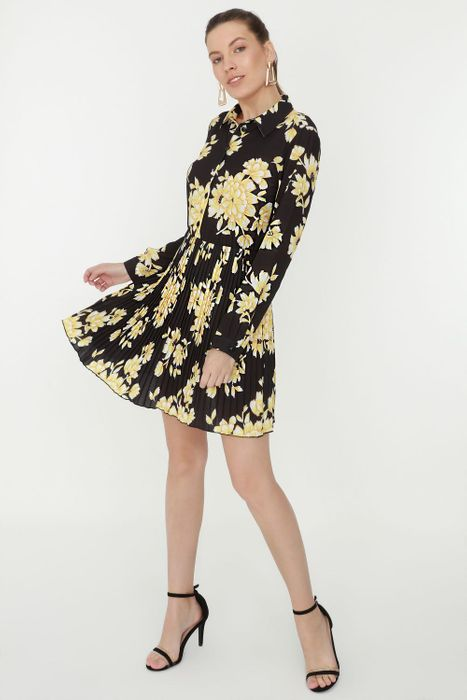 Multi Printed Pleated Button Shirt Dress