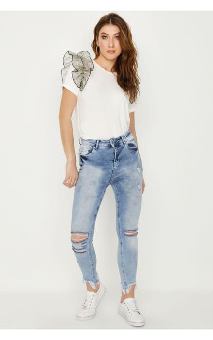 Acid Wash Denim Heidi Chewed Hem Jeans
