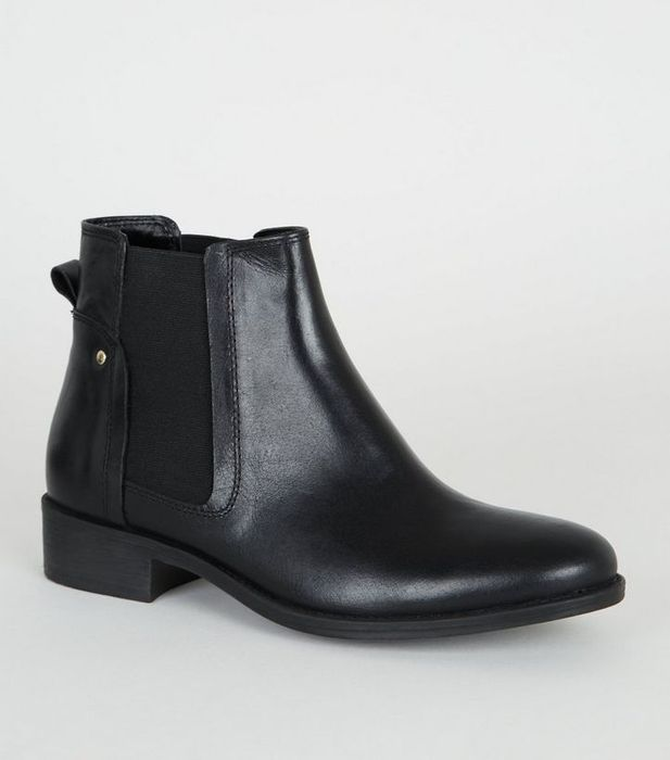 Black Leather Flat Chelsea Boots  4,5,6 Was £35.99