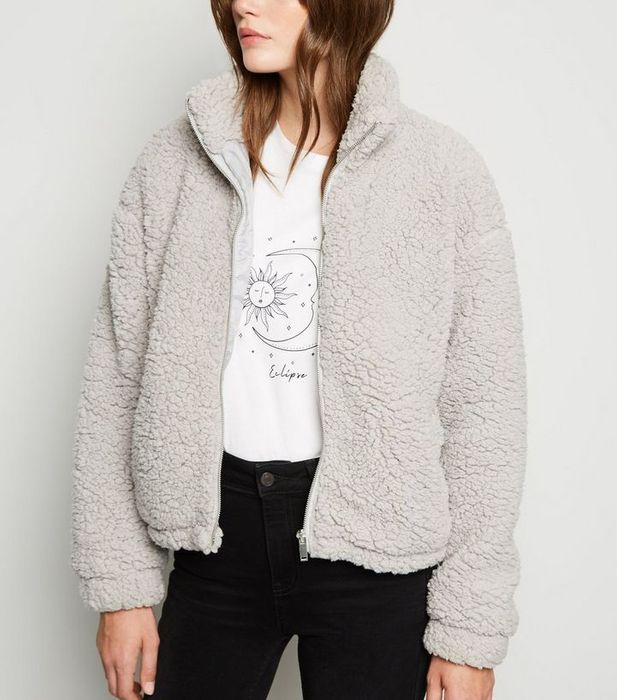 Pale Grey High Neck Teddy Jacket  S and L Was £25.99