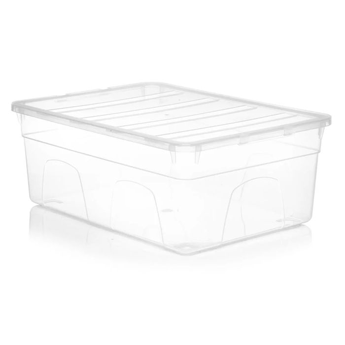 Wilko Clear Large Plastic Shoe Box with Lid 14 X 26 X 36cm