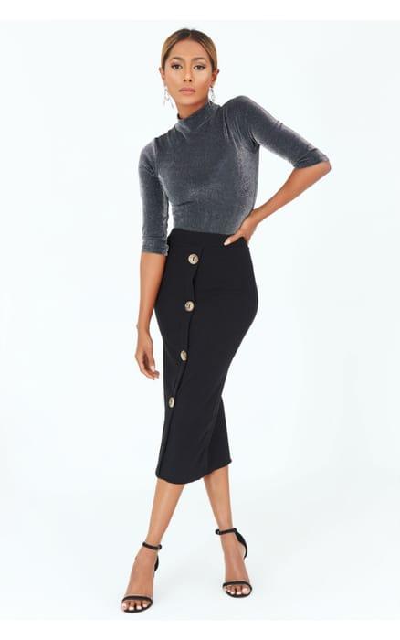 Black Heavy Ribbed Button through Midi Skirt